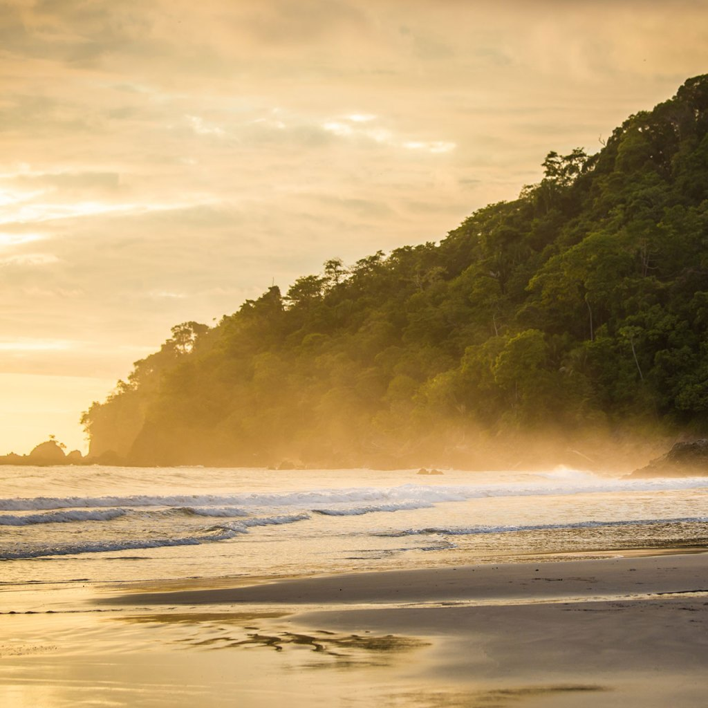Sunset on the beach in Costa Rica's Manuel Antonio National Park.