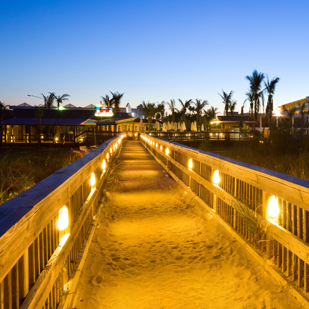 evening falls over a walkway at St. Pete Beach in Florida