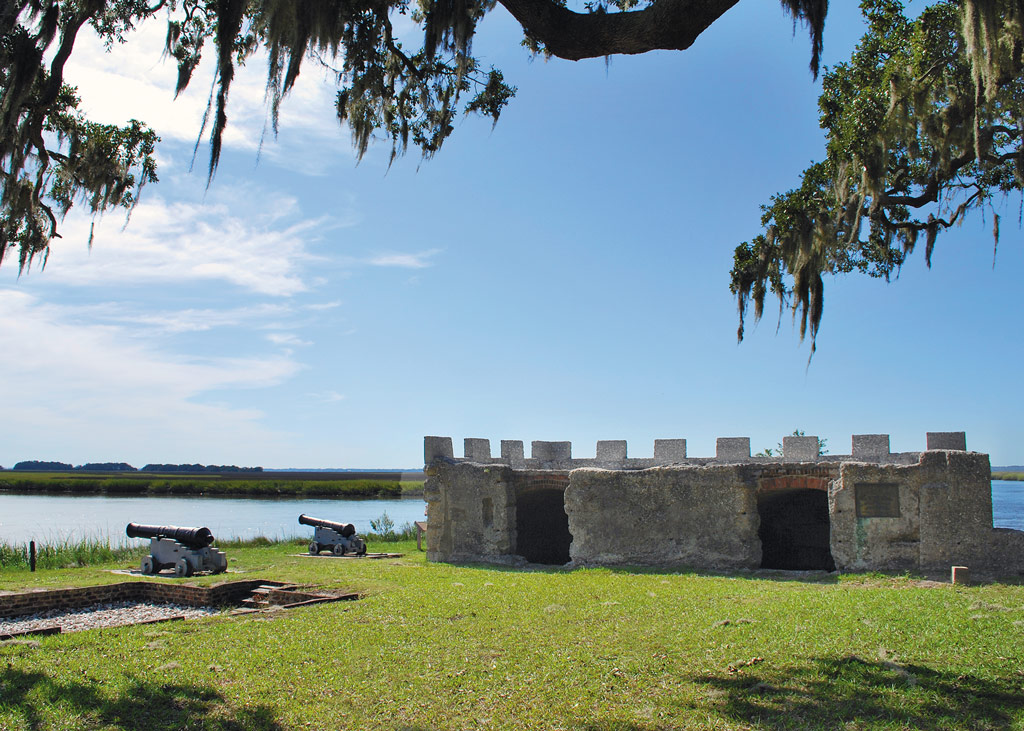 blue sky over the remains of Fort Frederica