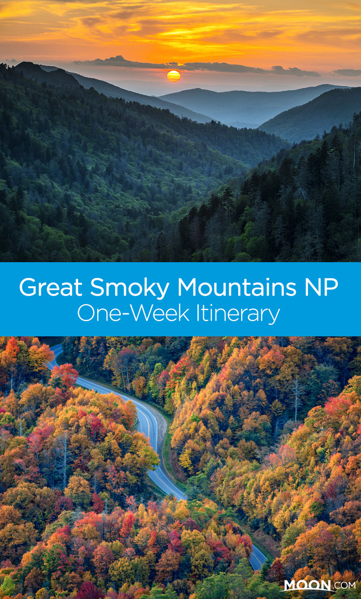 Pinterest graphic for One Week Itinerary to Great Smoky Mountains National Park