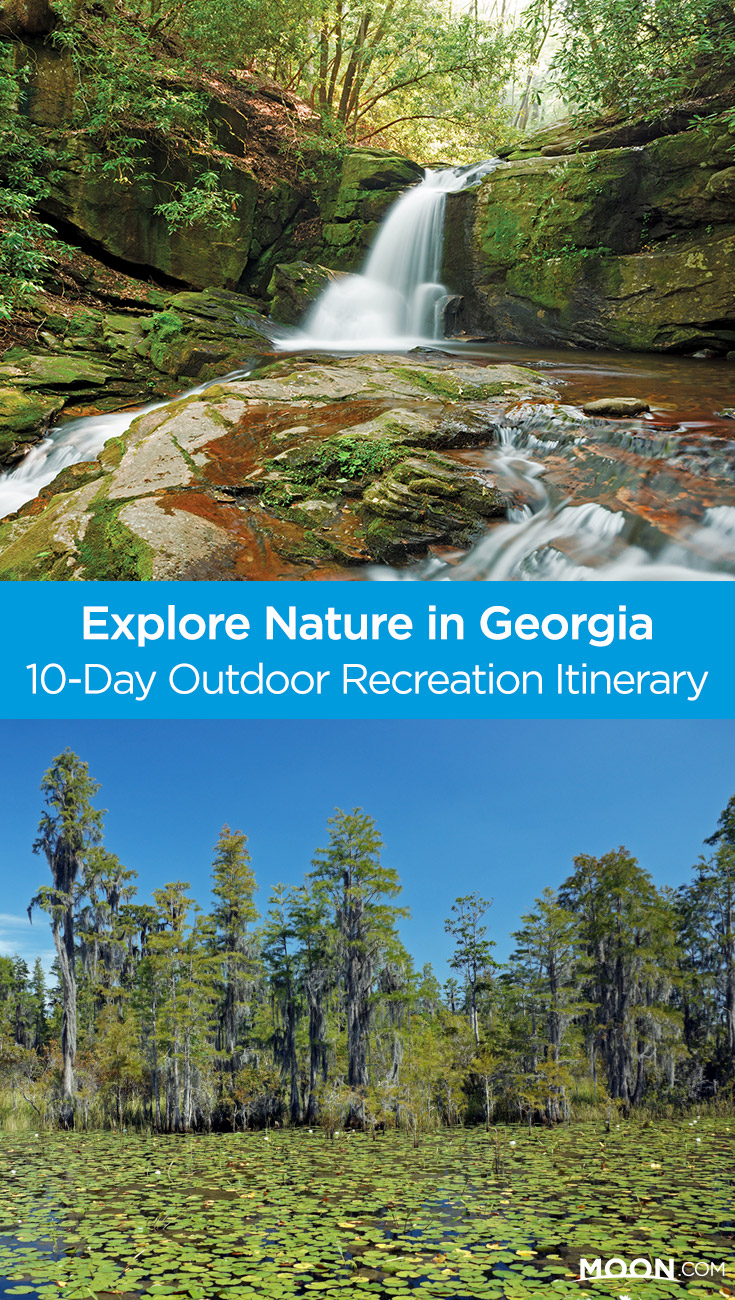Use this 10-day travel itinerary to plan your perfect Georgia outdoor adventure, including recreational activities that explore nature in the Peach State through hiking, rafting, paddling, and camping. Kayak the Altamaha River, canoe through the Okefenokee Swamp, hike to refreshing waterfalls in Cloudland Canyon State Park, and take in scenic views from Brasstown Bald. This itinerary covers it all!