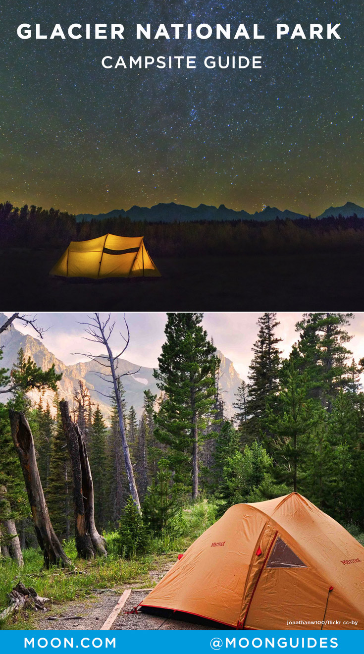 Pinterest graphic with photos of tents pitched in Glacier National Park