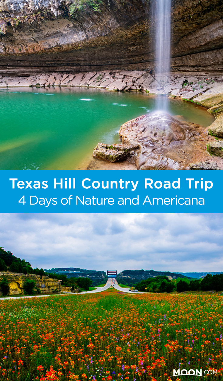 Pinterest graphic with photos of a field of waterfalls and a waterfall in Texas