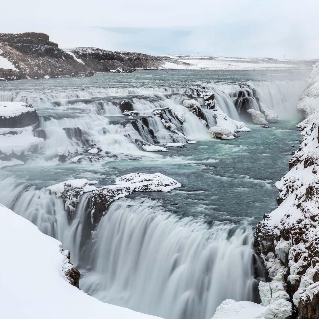 Waterfalls of Gullfoss in winter