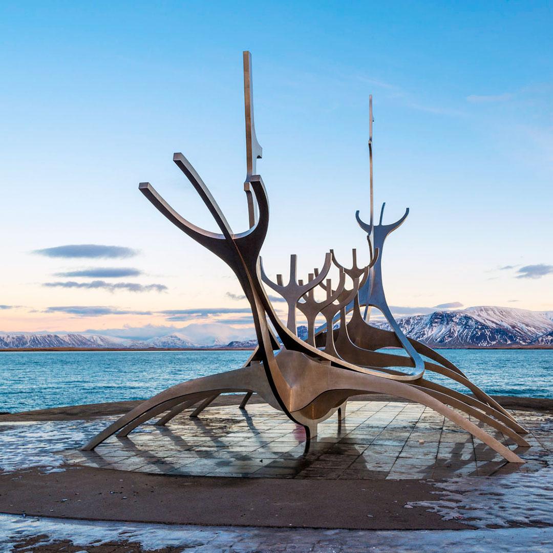 A sculpture representing a viking ship by Jón Gunnar Árnason.