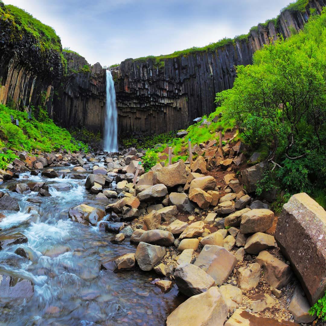 Svartifoss waterfall in Skatftafell National Park.