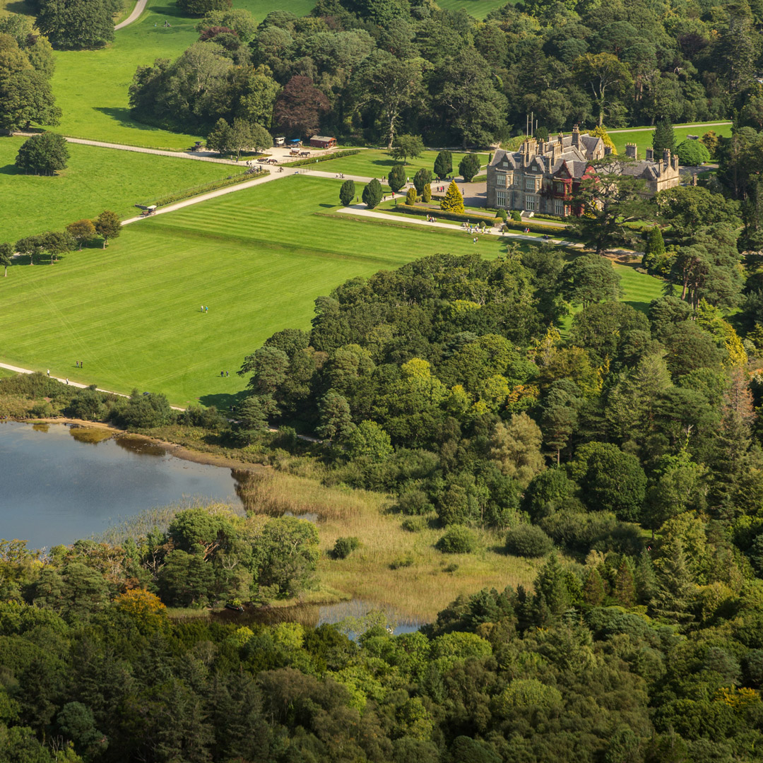 aerial view of countryside surrounding Muckross House in Killarney National Park