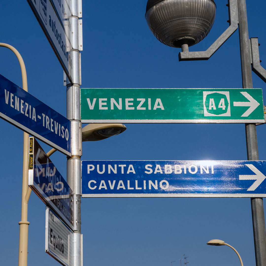venezia road sign in italy