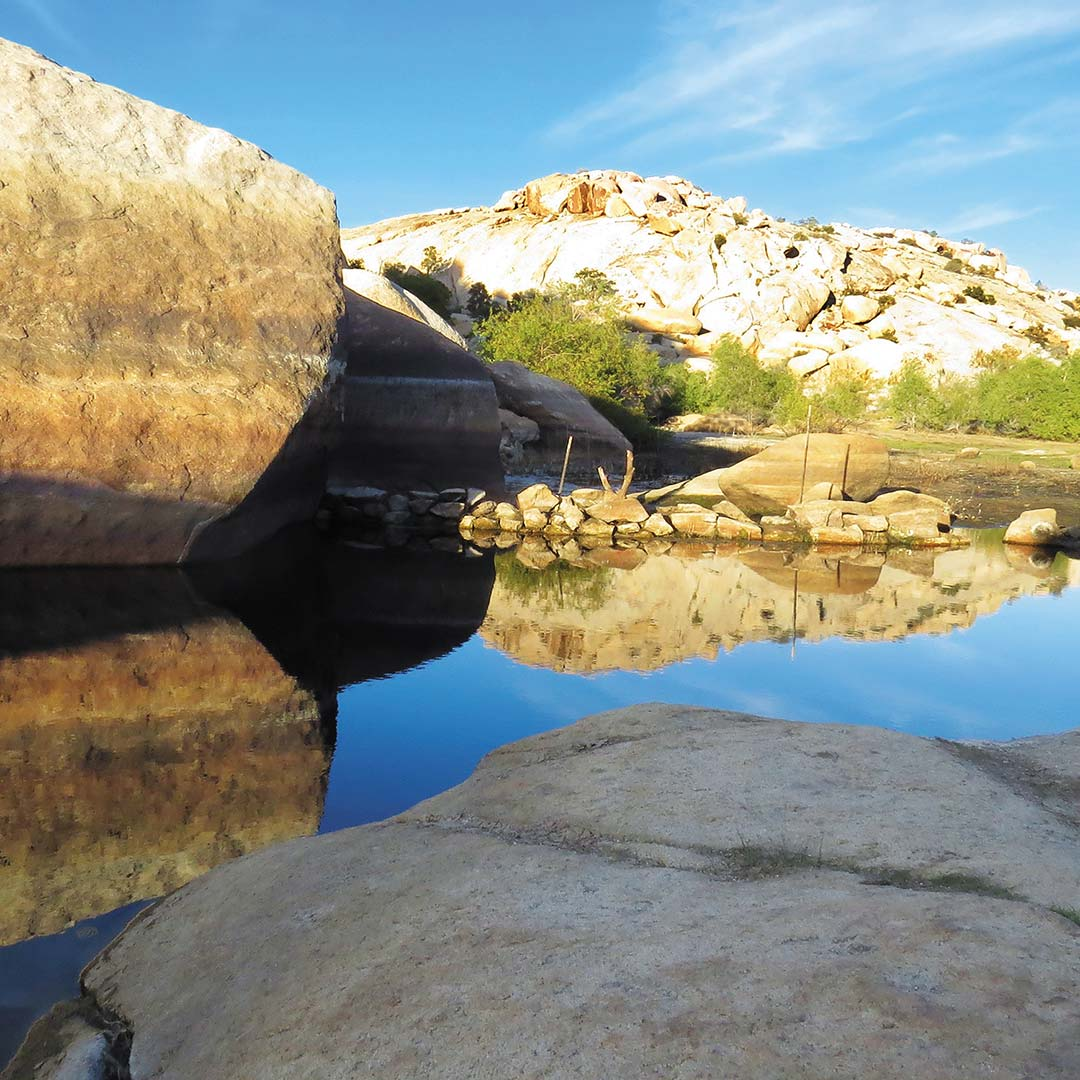 Rocks and water at Barker Dam in Joshua Tree National Park