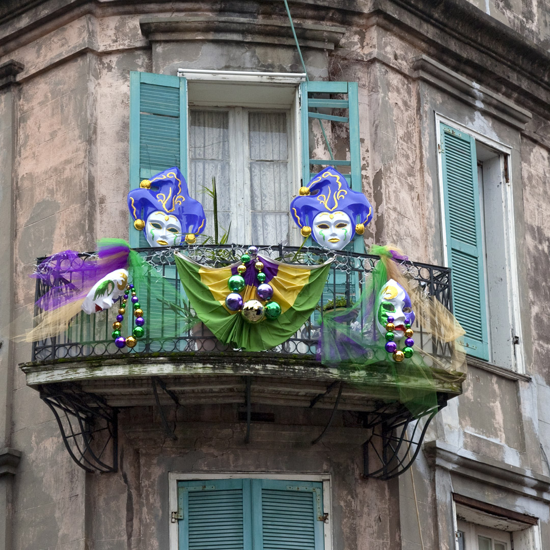 masks and mardi gras decorations in new orleans
