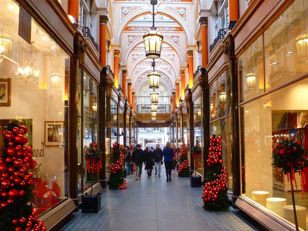 indoor shopping center Burlington Arcade in London