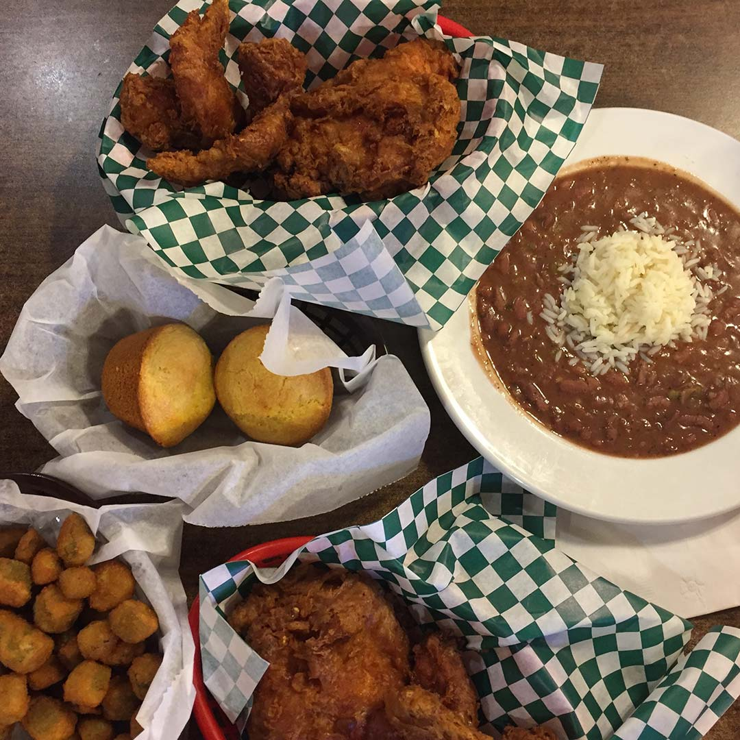 spread of fried foods at Willie Maes in New Orleans