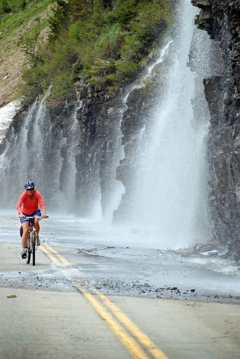 Biking along Glacier National Park's Weeping Wall.