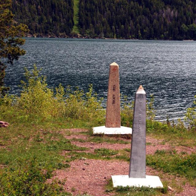 Obelisks mark the border between Canada and the U.S. at Goat Haunt.