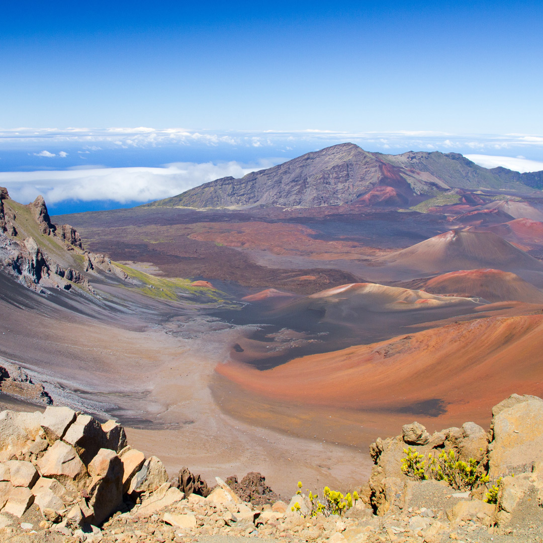 landscape view of Haleakala National Park, home of the best hiking in Maui