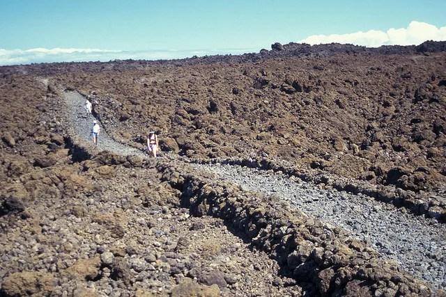 The Hoapili Trail through a rocky landscape near La Perouse Bay in South Maui.