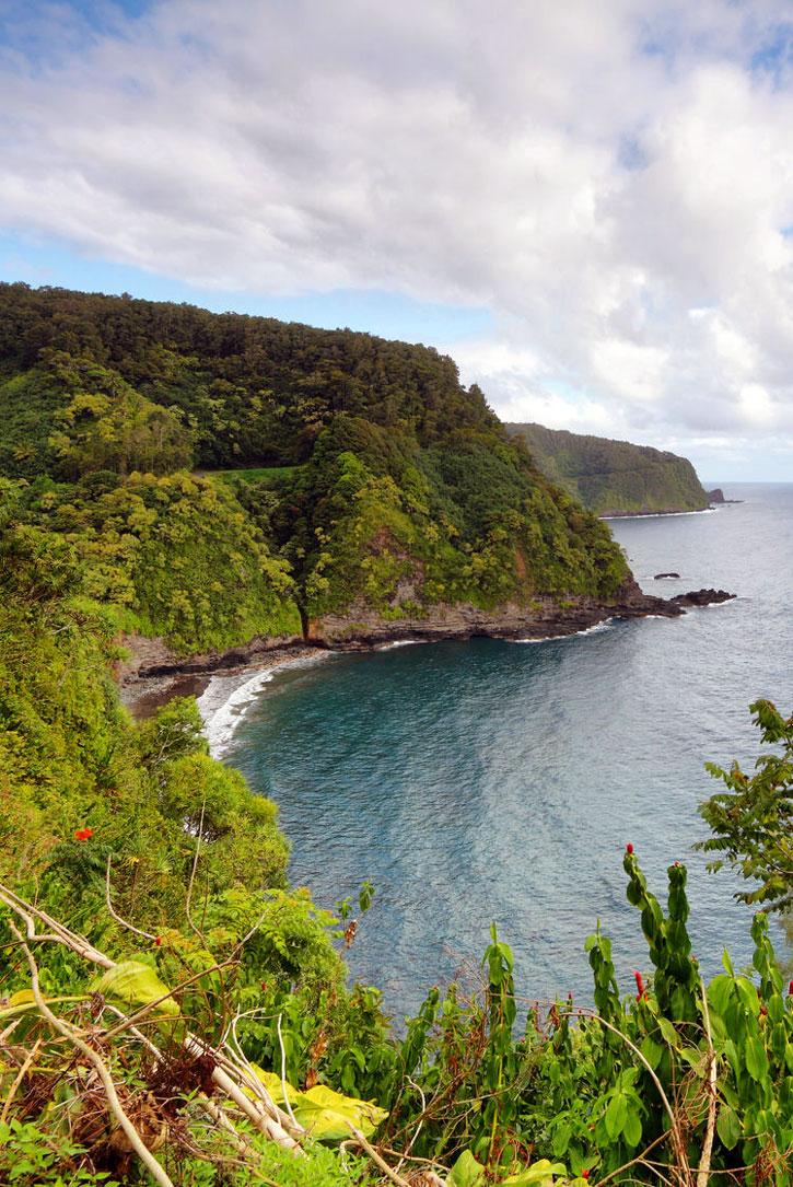 Cliffs of eastern Maui along the Road to Hana.