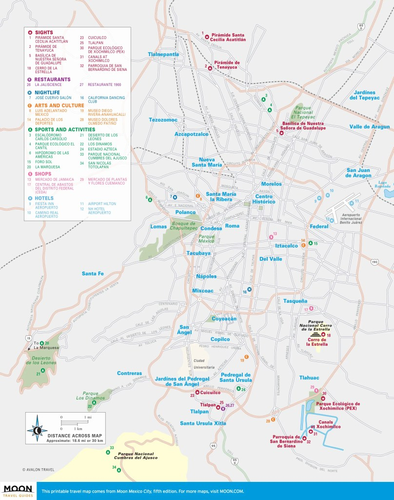 Travel map of Greater Mexico City
