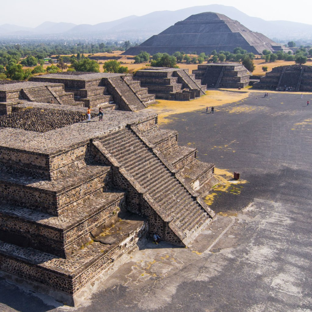 aerial view of pyramids at Teotihuacan
