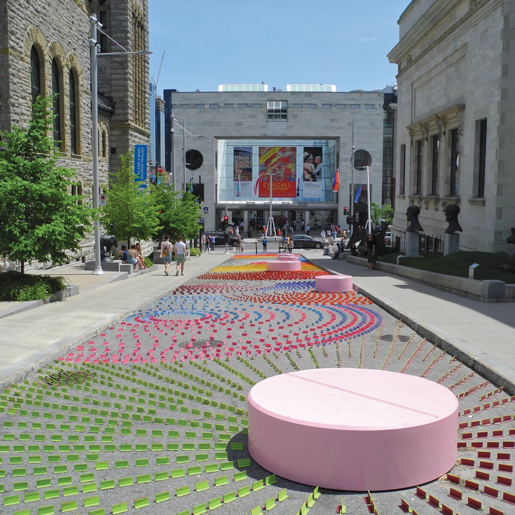 colorful artwork on the street leading to Musee des Beaux-Arts de Montreal