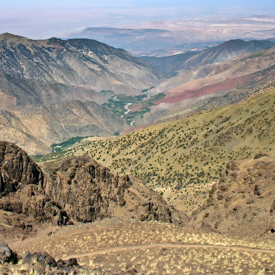 aerial view of Morocco's high atlas mountains from Toubkal