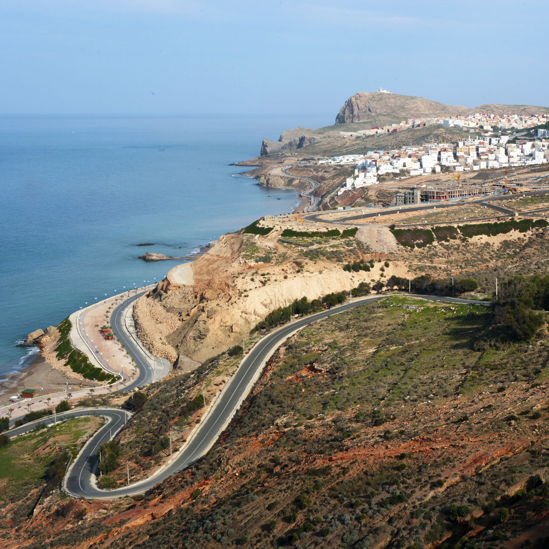 highway snaking along the Mediterranean coast