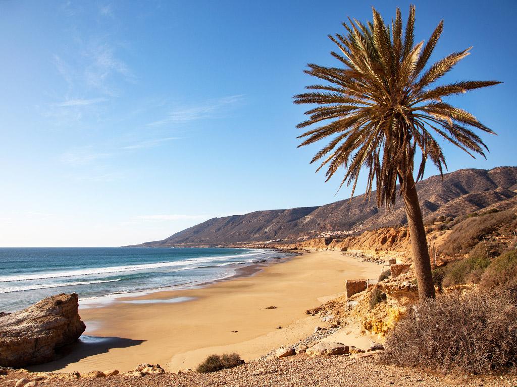 sunny day at Agadir beach in Morocco