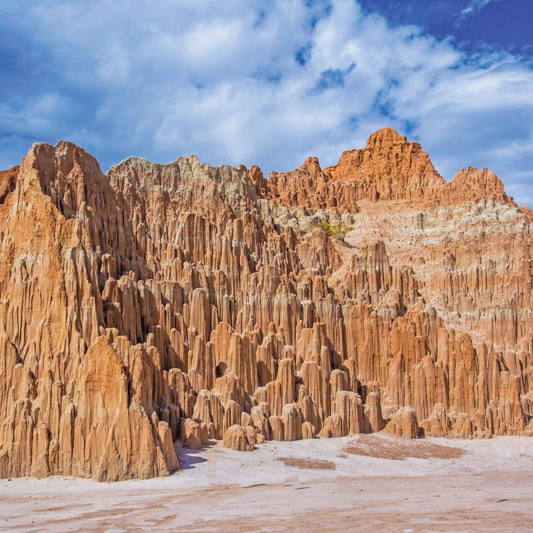jagged landscape of Cathedral Gorge State Park
