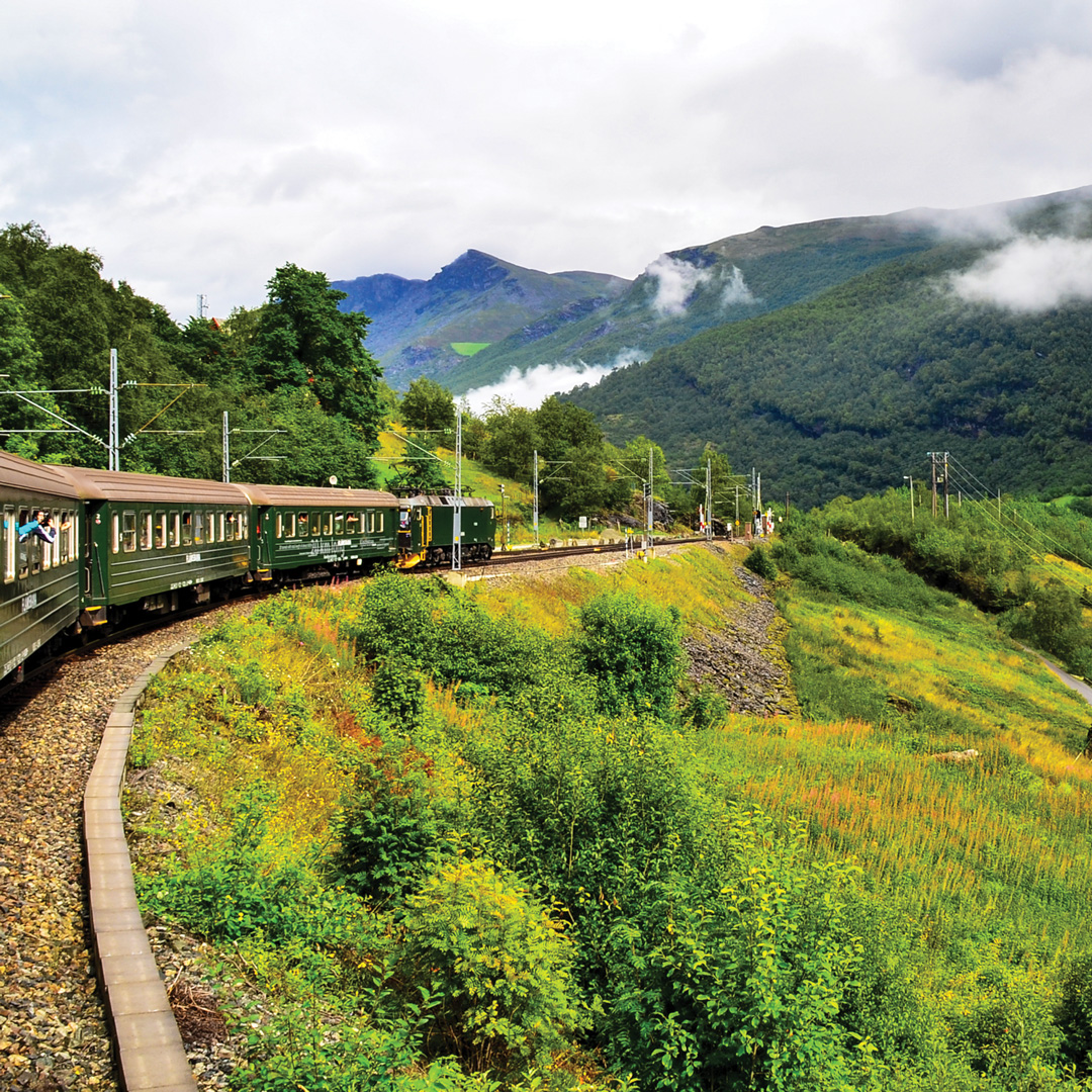 train on the track to Flam Norway