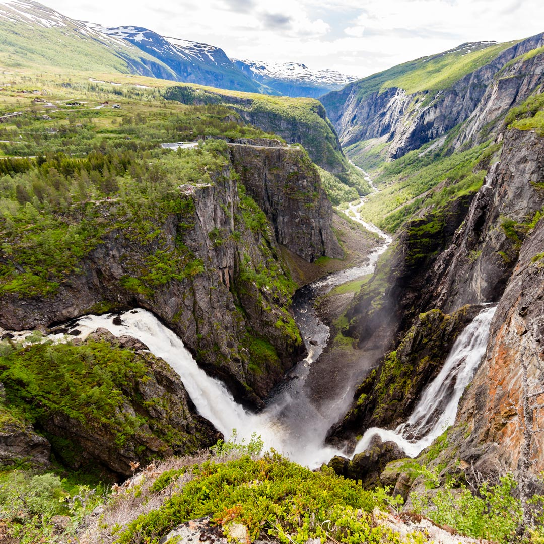 waterfall pouring into Eidfjord in Norway