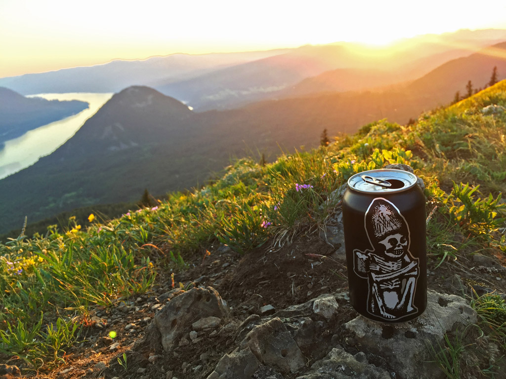 beer can sitting on a rock with a Oregon scenery in the background