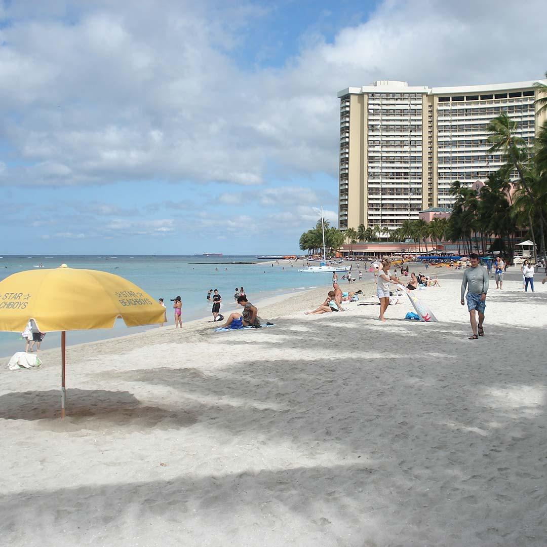 Waikiki Beach in the early morning.