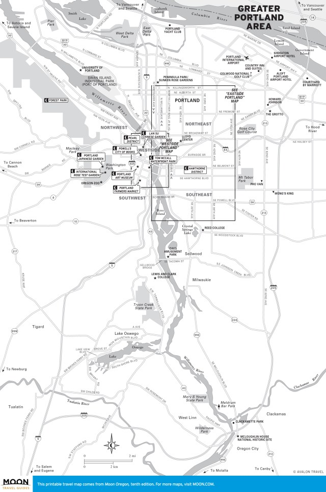 Map of the greater Portland, Oregon region
