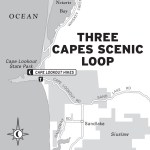 Map of the Three Capes Scenic Loop in Oregon