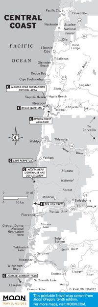 Map of the Central Coast of Oregon