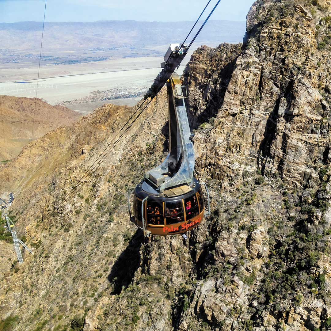 Palm Springs aerial tramway with view of landscape