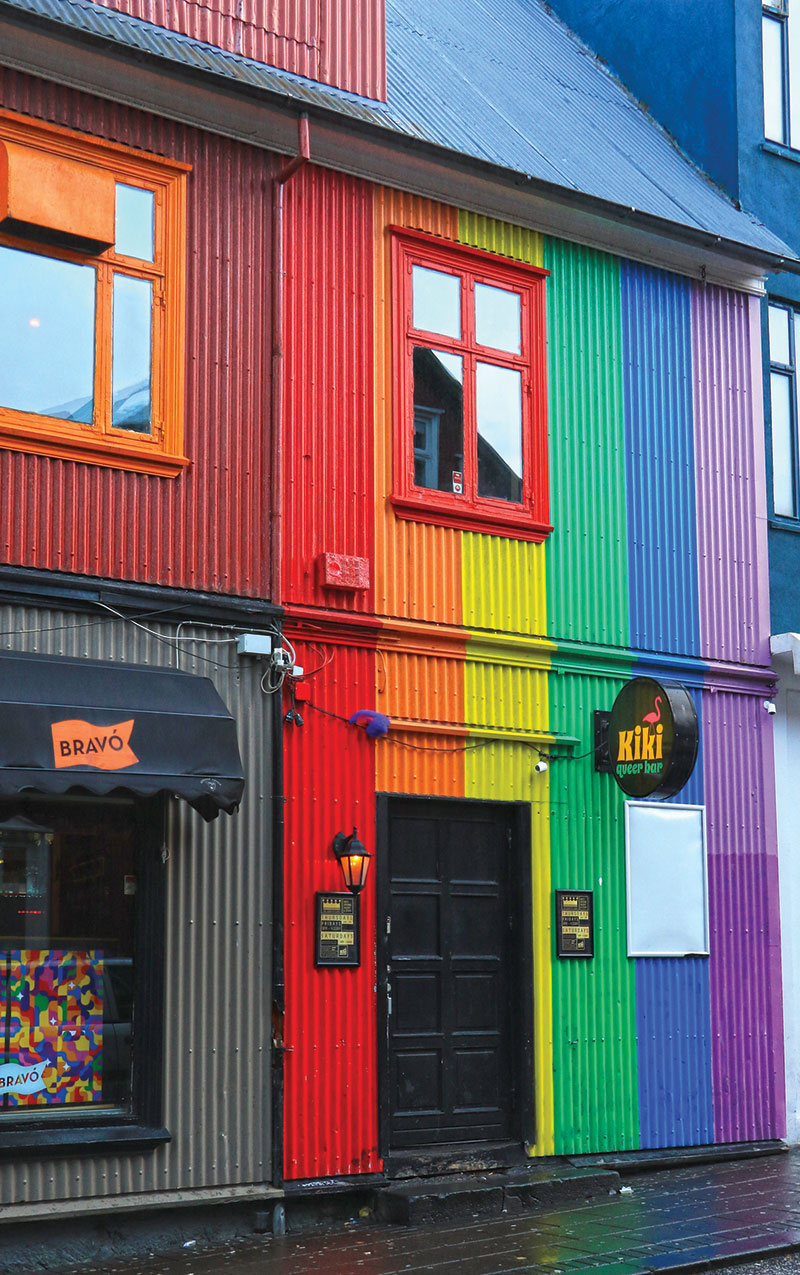 gay bar in Reykjavik with a rainbow exterior