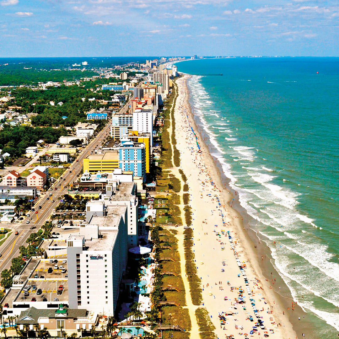aerial view of the streets and buildings lining Myrtle Beach in South Carolina