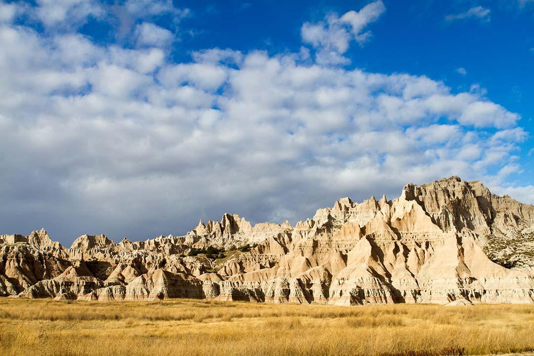 Rock formations near the Ben Reifel Visitor Center in Badlands National Park.