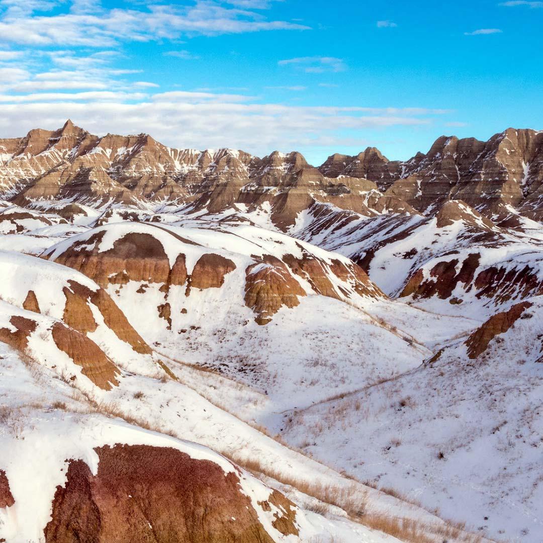 Winter in South Dakota's Badlands National Park.