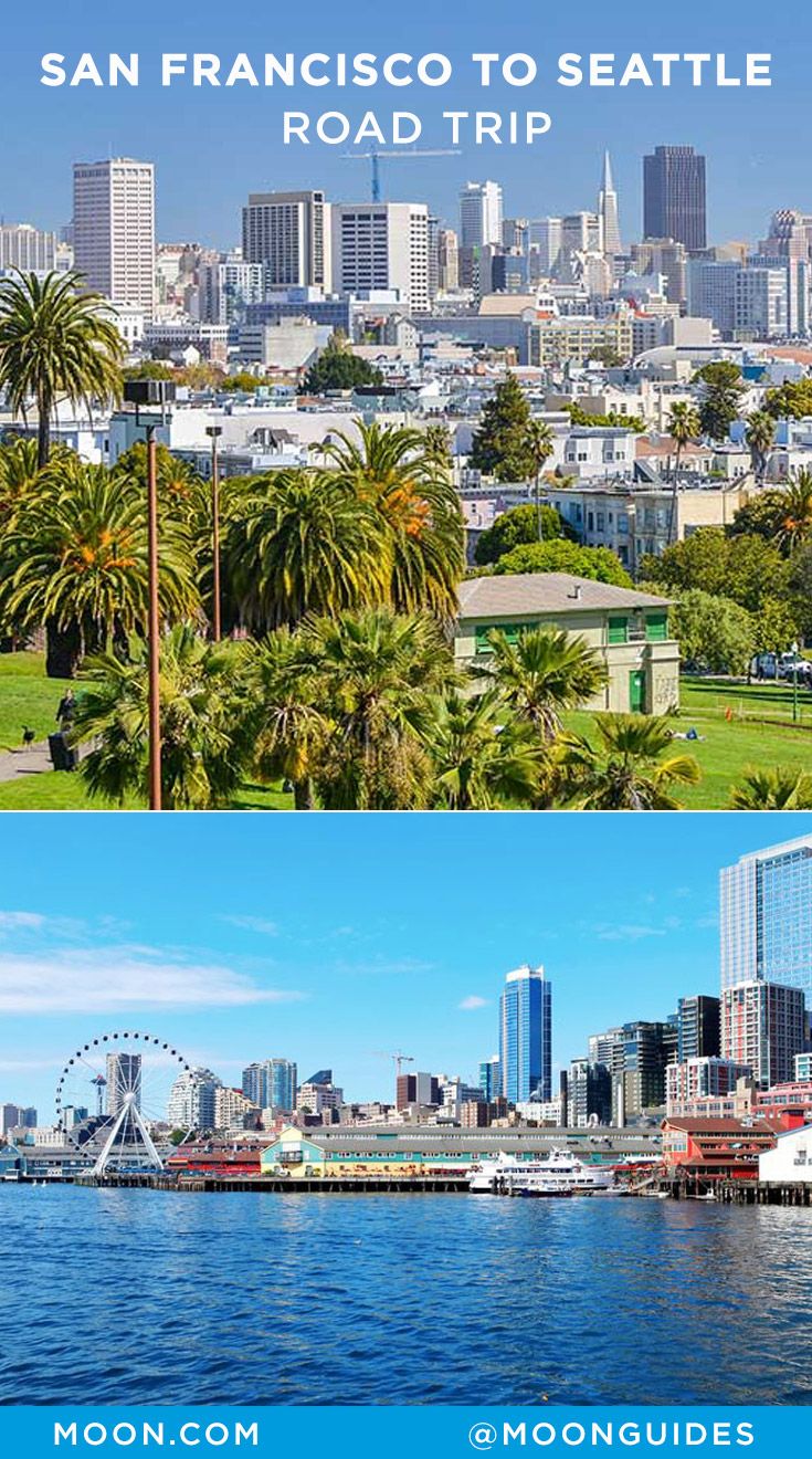 Pinterest graphic with photos of the San Francisco and Seattle skylines