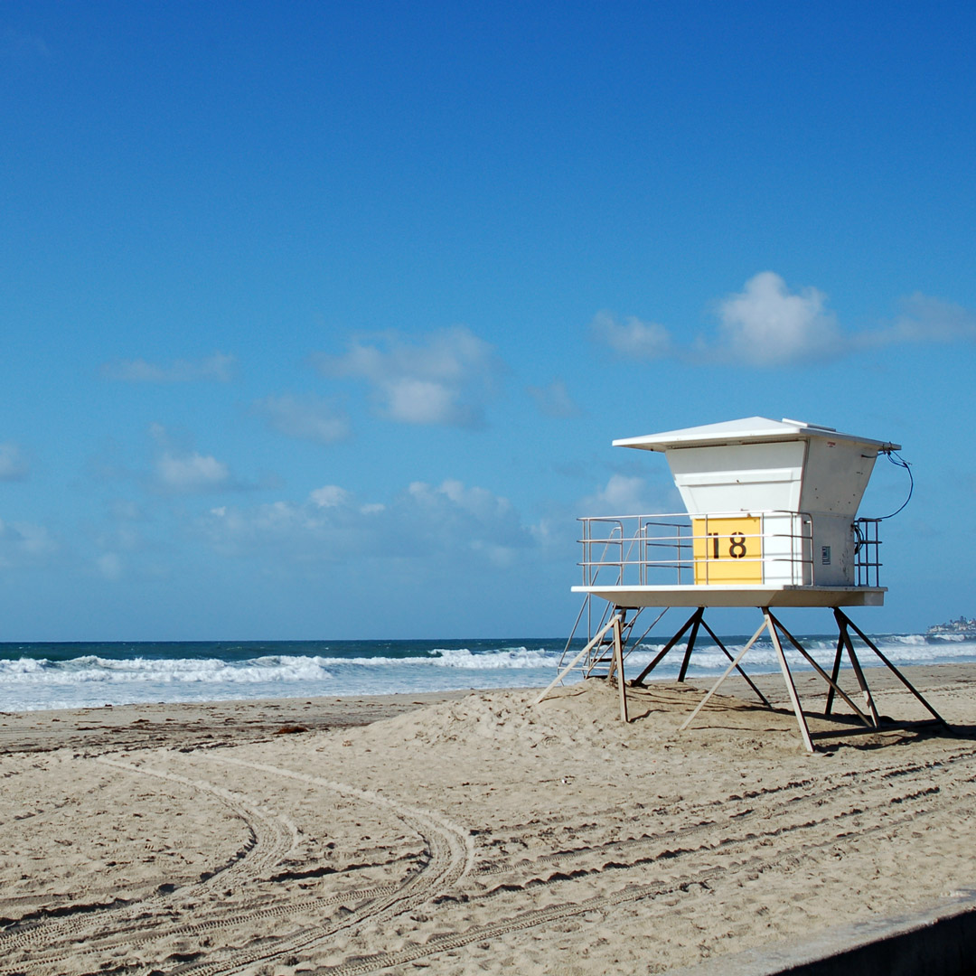 lifeguard tower at the beach in San Diego