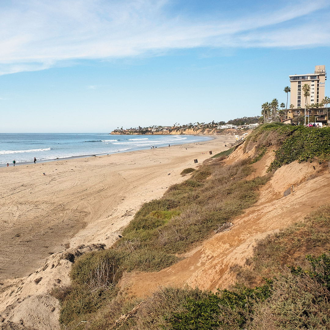 ocean meets shore at Pacific Beach in San Diego