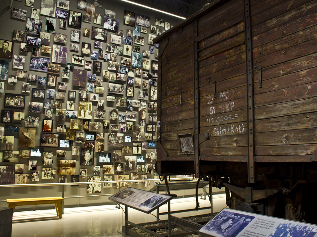 photographs and a boxcar at the Florida Holocaust Museum in St. Petersburg