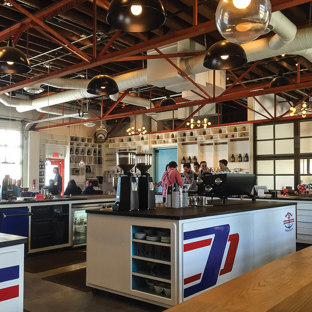 coffee shop with industrial architecture features in Nashville