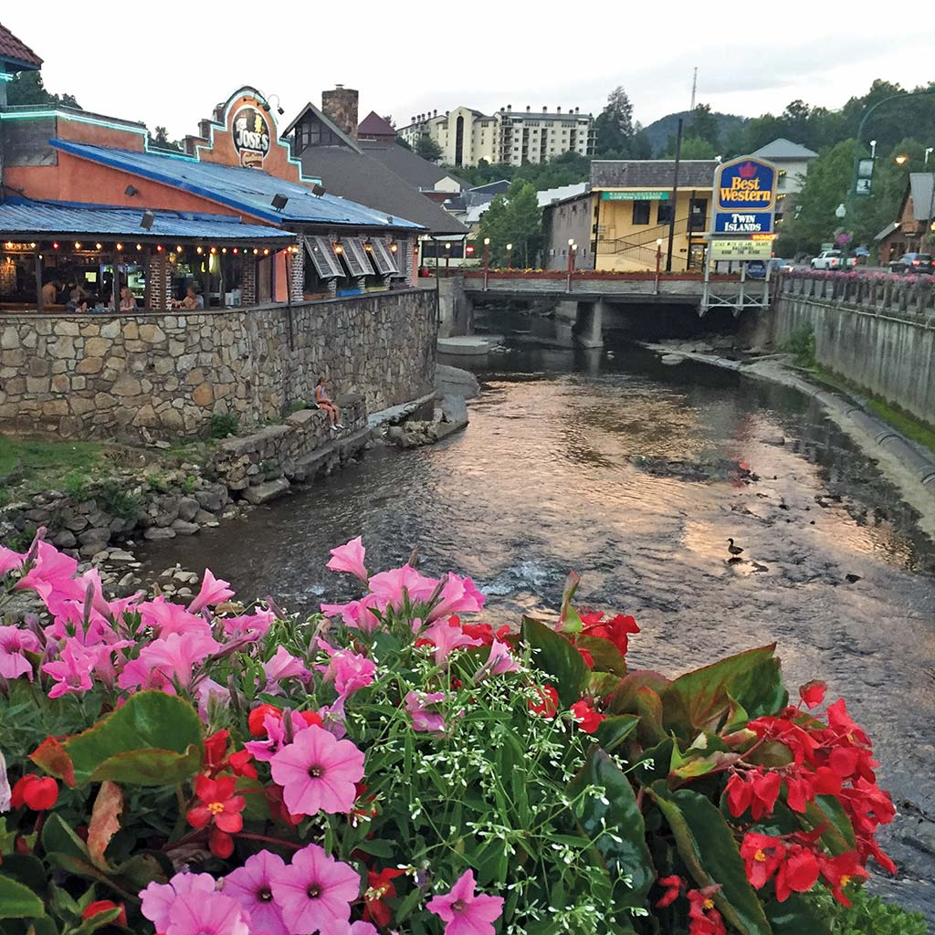A waterfront restaurant in downtown Gatlinburg, a popular gateway to the Great Smoky Mountains in Tennessee.