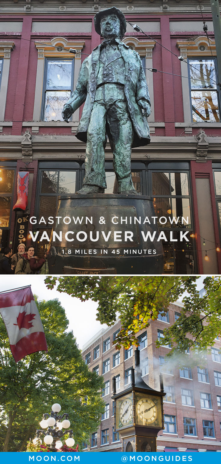 Pinterest graphic with photo of gassy jack and the steam clock in Vancouver