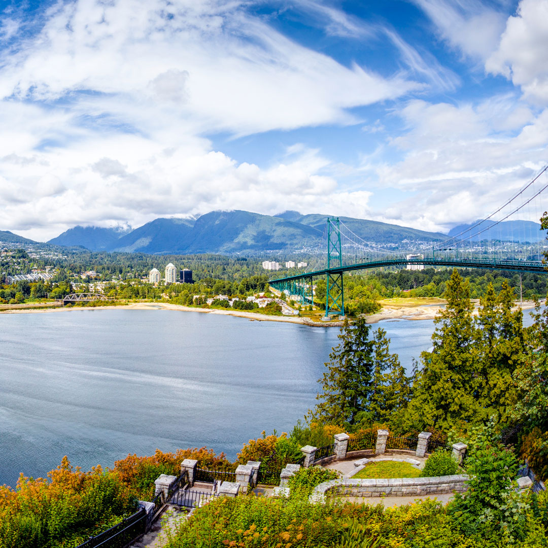 view of the Vancouver skyline and Lions Gate Bridge