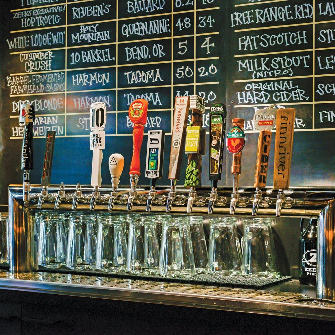 beer taps and menu