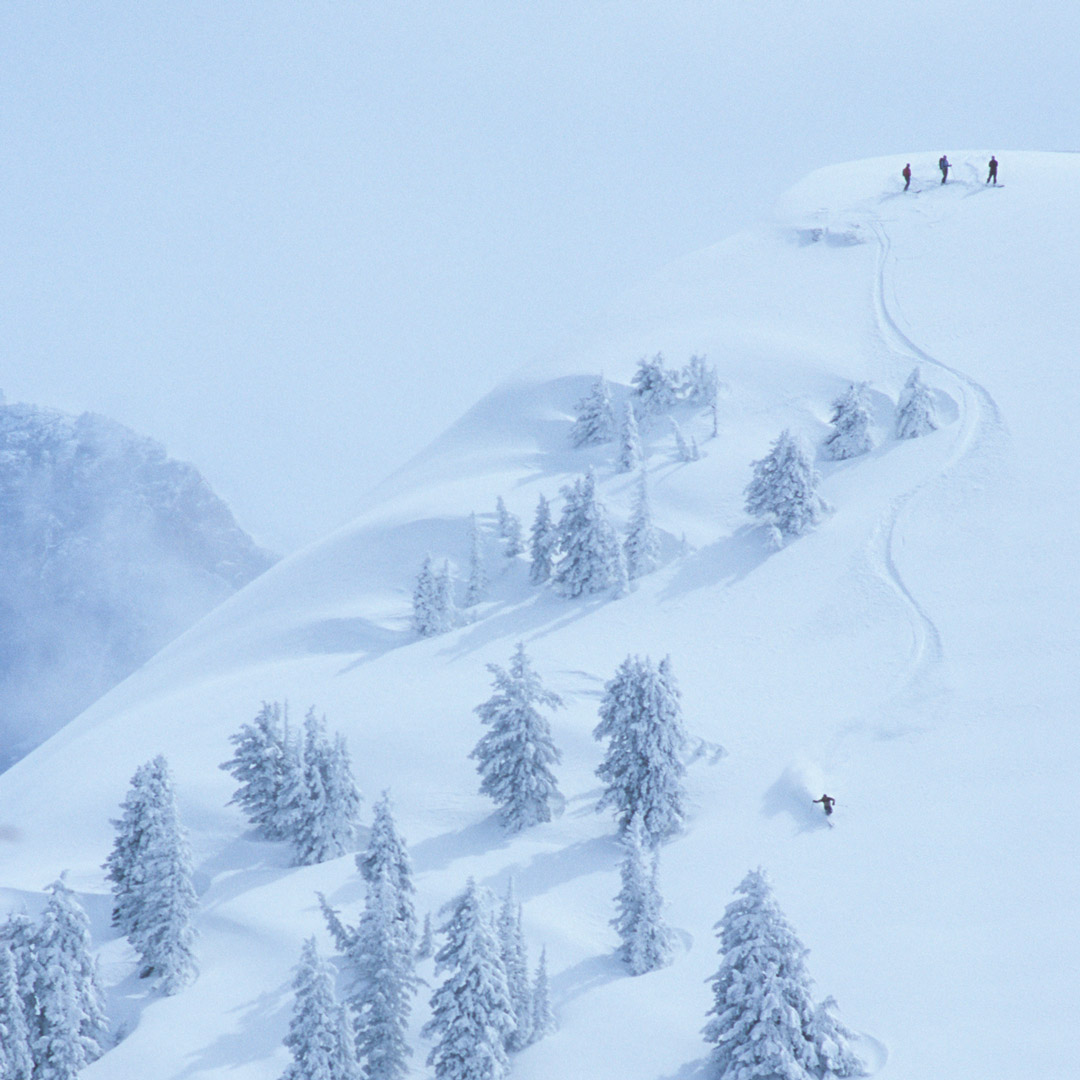 skiers on the snowy slopes of the Tetons